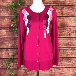 Lane Bryant Sweater 14 16W Pink Argyle Beads